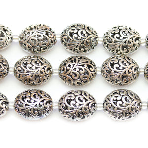 Silver Plated Zinc Alloy High Detail Oval 17x20mm Beads