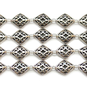 Silver Plated Zinc Alloy High Detail Diamond 13x17mm BeadsBeads by Halcraft Collection