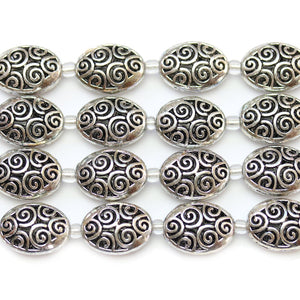 Silver Plated Zinc Alloy High Detail Oval 13x18mm Beads