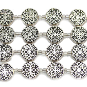 Silver Plated Zinc Alloy High Detail Round Lentil 16mm Beads