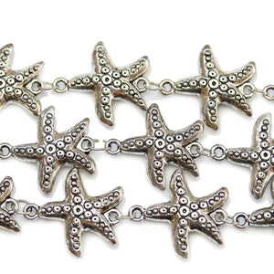 Silver Plated Zinc Alloy High Detail Starfish Connector 22mmConnector by Bead Gallery