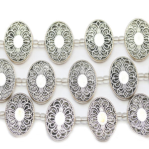 Silver Plated Zinc Alloy High Detail Oval 15x23mm BeadsBeads by Halcraft Collection