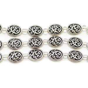 Silver Plated Zinc Alloy High Detail Oval 9x12mm Beads