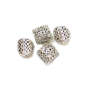 Silver Plated Zinc Alloy Square 13mm Beads