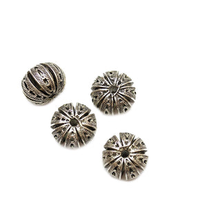 Silver Plated Zinc Alloy Melon 11x16mm Beads
