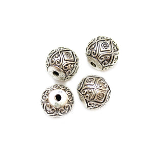 Silver Plated Zinc Alloy Fancy Round 15mm Beads