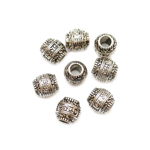 Silver Plated Zinc Alloy Large Hole (4mm) Tube 9x11mm Beads