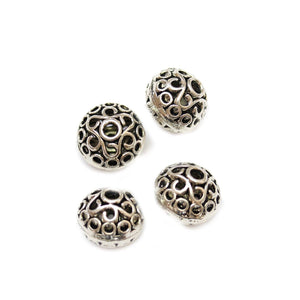 Silver Plated Zinc Alloy Large Rondell 14x16mm Beads
