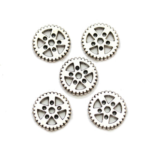 Silver Plated Zinc Alloy Gear 19mm Beads
