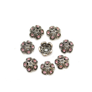 Silver Plated Zinc Alloy Bead Cap with Pink Rhinestones 11mmBead Cap by Bead Gallery