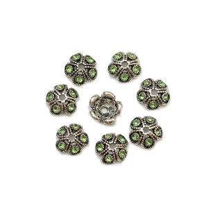 Silver Plated Zinc Alloy Bead Cap with Green Rhinestones 11mmBead Cap by Halcraft Collection