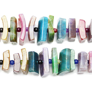 Multi Dyed Agate Square Slices 12-20mm BeadsBeads by Halcraft Collection