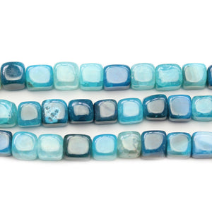 Aqua Dyed Crackle Agate Stone Cube 8mm Beads