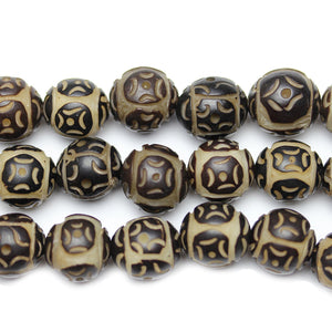 Carved Bodhi Nut Round 12mm Beads