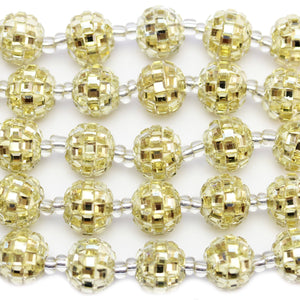 Gold Glass Rhinestones on Resin Round 13mm BeadsBeads by Halcraft Collection