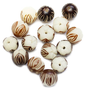 Carved Bodhi Nut Round Flower 13mm BeadsBeads by Halcraft Collection