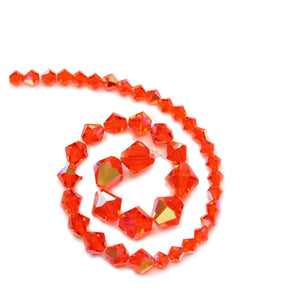 Multi-pack - Preciosa Bicone Orange Hyacinth AB Beads (sizes 4mm, 6mm, 8mm)