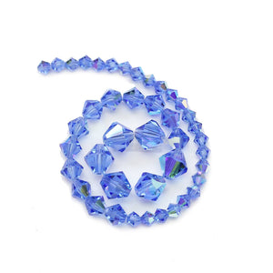 Multi-pack - Preciosa Bicone Sapphire AB Beads (sizes 4mm, 6mm, 8mm)
