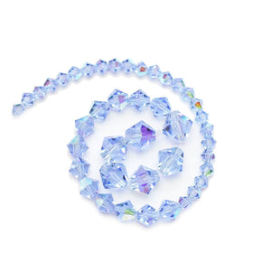 Multi-pack - Preciosa Bicone Light Sapphire AB Beads (sizes 4mm, 6mm, 8mm)