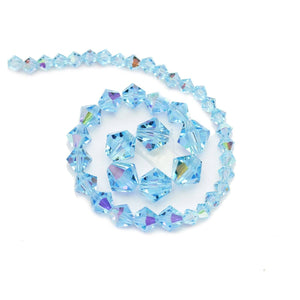 Multi-pack - Preciosa Bicone Aqua AB Beads (sizes 4mm, 6mm, 8mm)