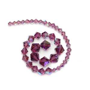 Multi-pack - Preciosa Bicone Amethyst AB Beads (sizes 4mm, 6mm, 8mm)Beads by Halcraft Collection