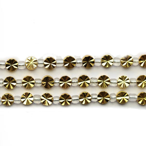Super Bundle - Gold Tone 6mm Diamond Cut Disk BeadsBeads by Halcraft Collection