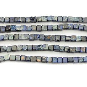 Blue Dyed Imperial Jasper Stone Cube 4mm Beads