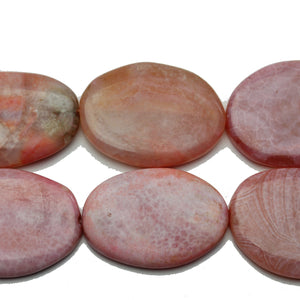 Pink Dyed Crackle Agate Stone Oval 27x39mm Beads