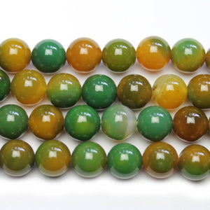 Green Dyed Bnaded Agate Stone 10mm Round Beads - Beads by Bead Gallery
