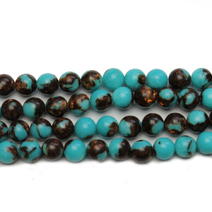 Turquoise Dyed Conglomerate Stone White Howlite 6mm - Beads by Bead Gallery