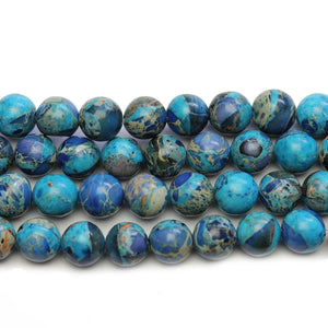 Dark Aqua Dyed Imperial Jasper Round 8mm Beads - Beads by Bead Gallery