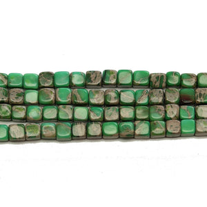 Green Dyed Imperial Jasper Cube Beads 4mm - Beads by Bead Gallery