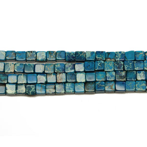 Blue Dyed Imperial Jasper Cube Beads 4mm - Beads by Bead Gallery