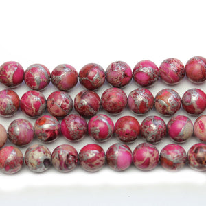 Magenta Dyed Imperial Jasper Round Beads 8mm - Beads by Bead Gallery