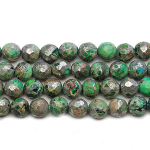 Green Dyed Pyrite Infused Conglomerate Stone Faceted Round Beads 8mm - Beads by Bead Gallery