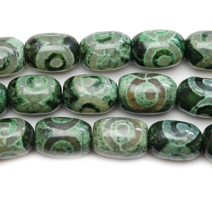 Green Dyed Agate Batiked Stone Beads 13x16mm - Beads by Bead Gallery