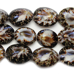 Philippine Natural Limpet Shell Beads 25x30mm, Approx.