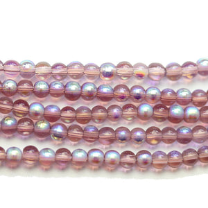 Super Bundle - Glass 4mm Round Purple AB BeadsBeads by Halcraft Collection