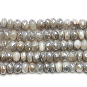 Faceted Natural Mystic Moonstone with Luster Rondell 5x9mm BeadsBeads by Halcraft Collection