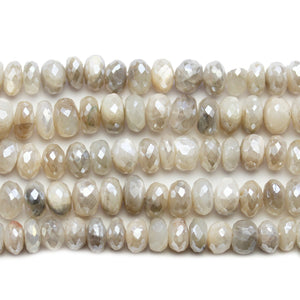 Faceted Natural Mystic Moonstone with Luster Rondell 4.5x8mm BeadsBeads by Halcraft Collection