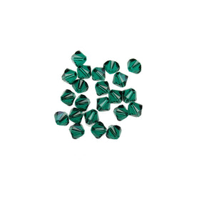 Cristales de Swarovski® 5328 4mm Bicone Beads Faceted Emerald - Beads by Bead Gallery
