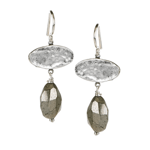 Pyrite Drop EarringsJewelry by Halcraft Collection