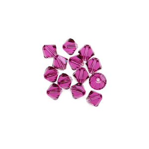 Swarovski® Crystals 5328 6mm Bicone Beads Faceted Fuchsia - Beads by Bead Gallery