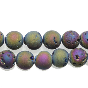 Rainbow Iris Coated Druzy Stone 14mm Round BeadsBeads by Halcraft Collection