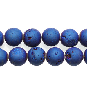 Dark Blue Iris Coated Druzy Stone 14mm Round BeadsBeads by Halcraft Collection