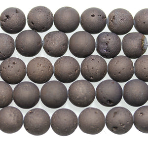 Dark Grey Dyed Druzy Stone 12mm Round BeadsBeads by Halcraft Collection