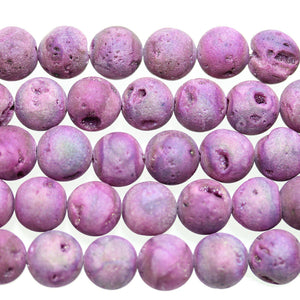 Purple Dyed Druzy Stone 12mm Round BeadsBeads by Halcraft Collection