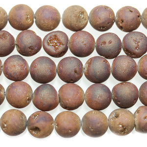 Rust Luster Coated Druzy Stone 12mm Round BeadsBeads by Halcraft Collection