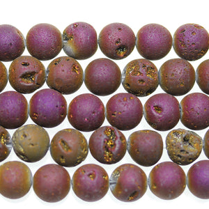 Dark Purple Iris Coated Druzy Stone 12mm Round BeadsBeads by Halcraft Collection