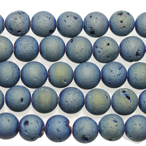 Aqua Iris Coated Druzy Stone 12mm Round BeadsBeads by Halcraft Collection